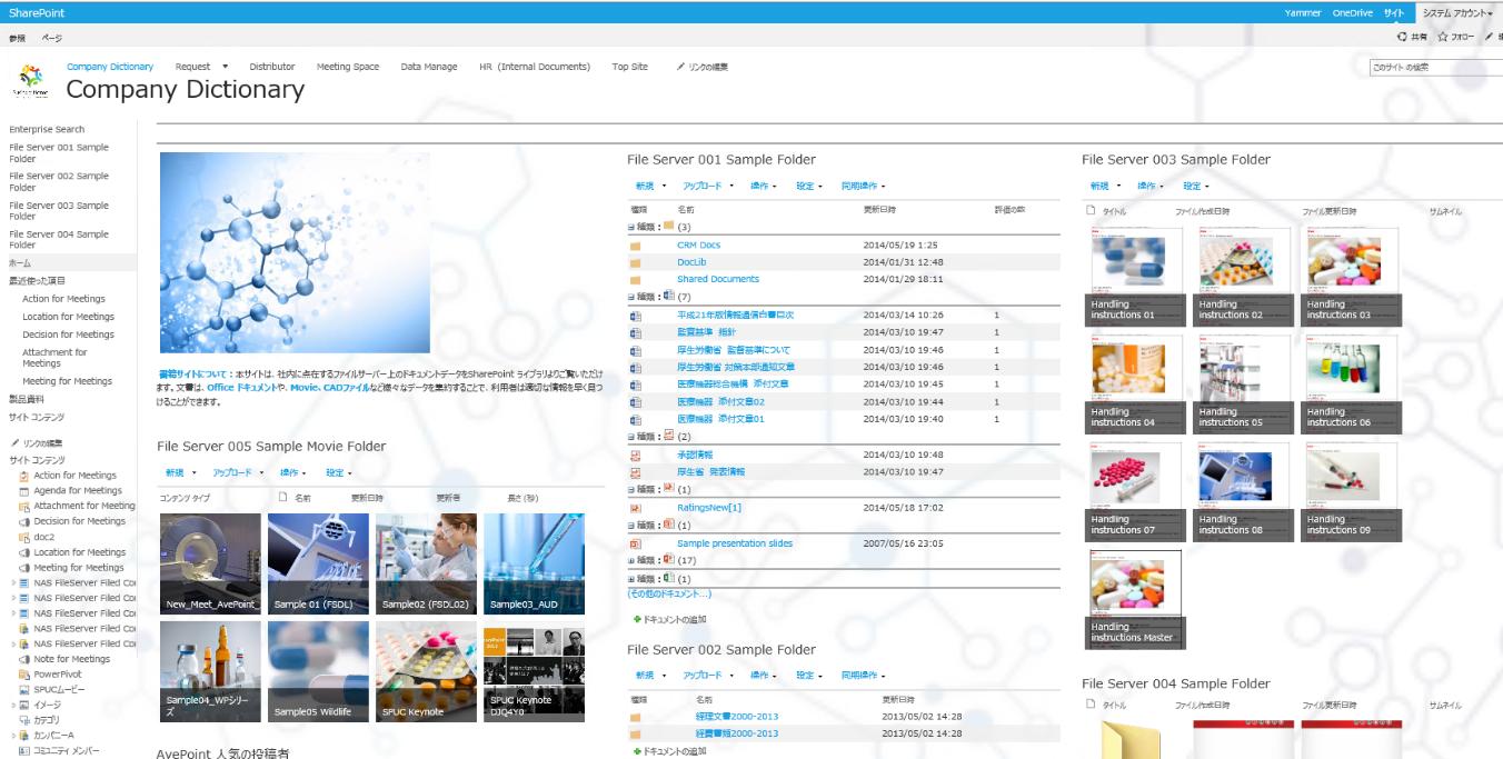 [画面7 : 書庫サイトとして外部ファイルサーバーのファイルデータをポータル統合したサイト領域(サンプル)]