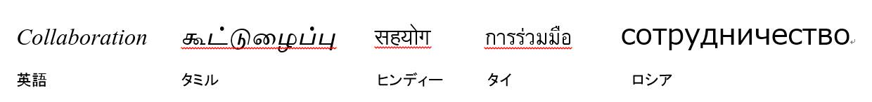 SharePoint の代名詞 コラボレーションを、英語、タミル、ロシア、タイ、ヒンディーで書くとこのようになります。