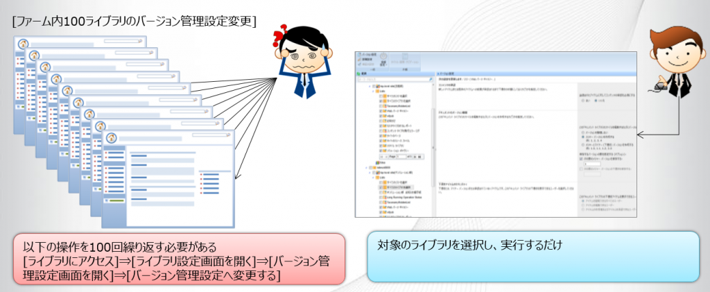 DocAve 管理センターfor SharePoint 設定の一括変更の画面