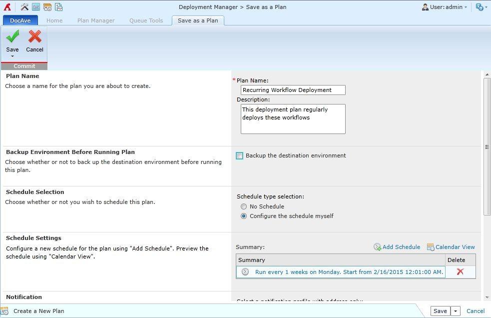 DocAve 展開マネージャーで展開のスケジュールを設定