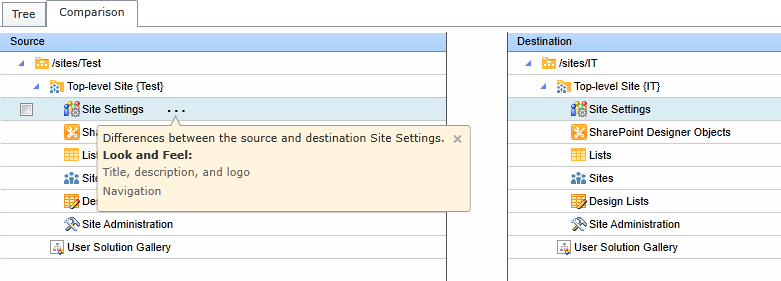 Figure 1: Compare feature in DocAve Deployoment Manager.