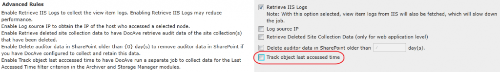 """""""Track object last access time"""" checkbox in DocAve Report Center."""