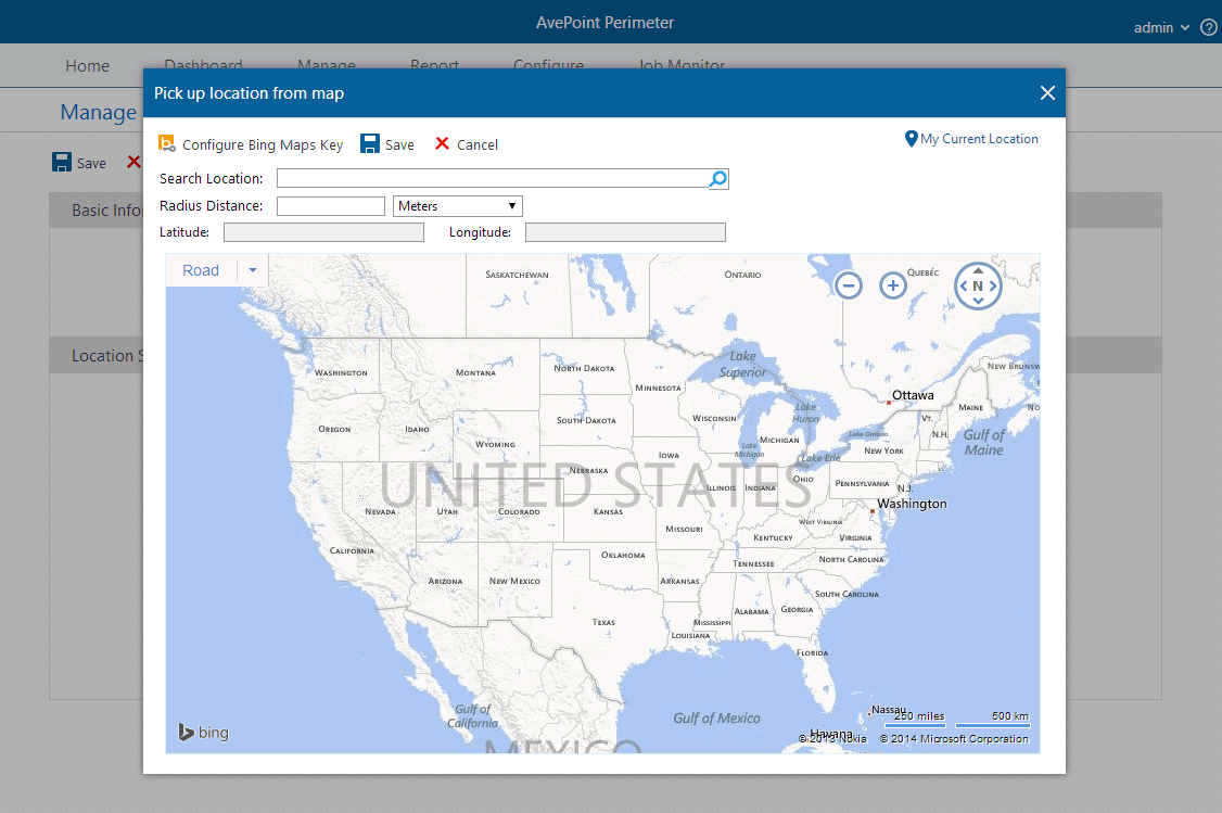 Screenshot of Perimeter's location based controls.