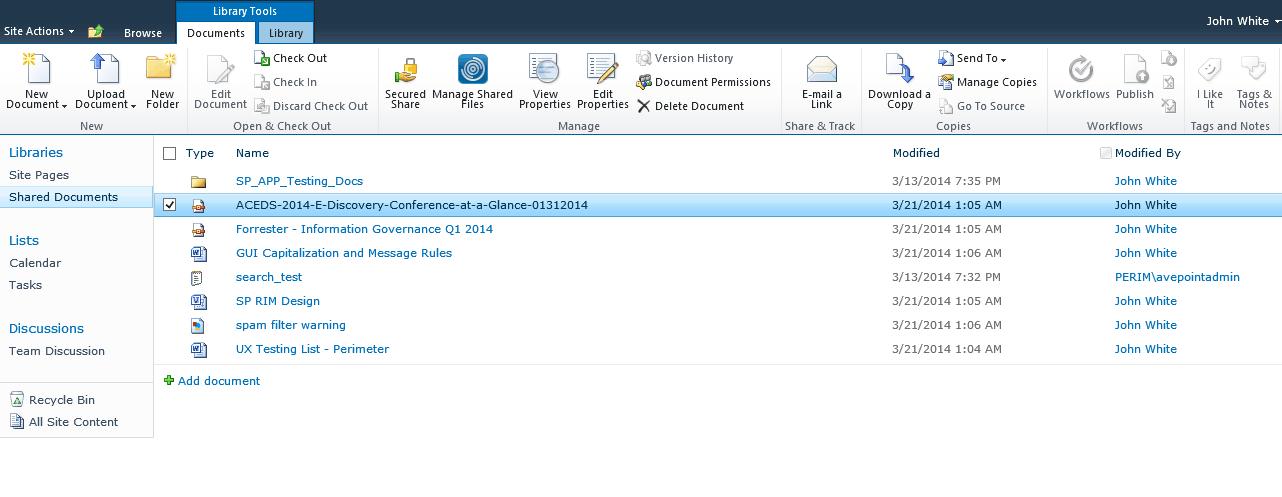Screenshot of Perimeter's secure sharing feature.