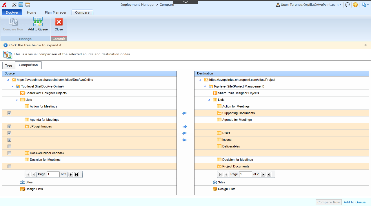 Deployment Manager allows you to compare a source and destination to identify design element differences.