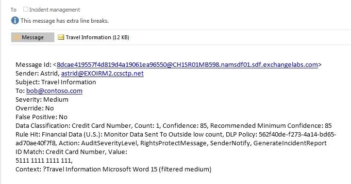 Microsoft's incident management report, sent via email