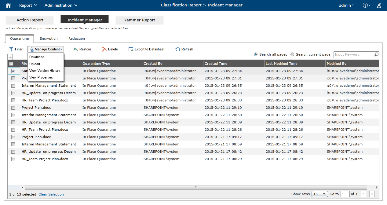 Compliance Guardian's incident response interface, with the ability to take action on sensitive content