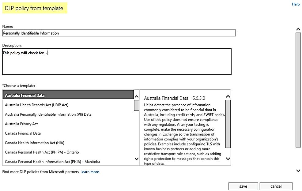 Microsoft's DLP policy interface.