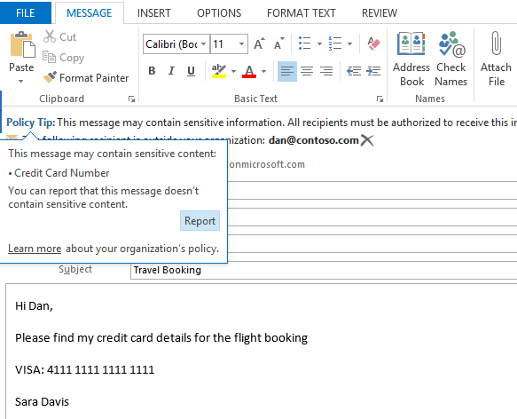 Microsoft in-context policy notifications