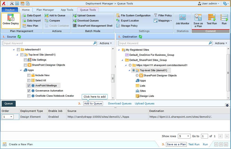 Deployment of a SharePoint app between SharePoint 2013 on premises and SharePoint Online with DocAve Deployment Manager.