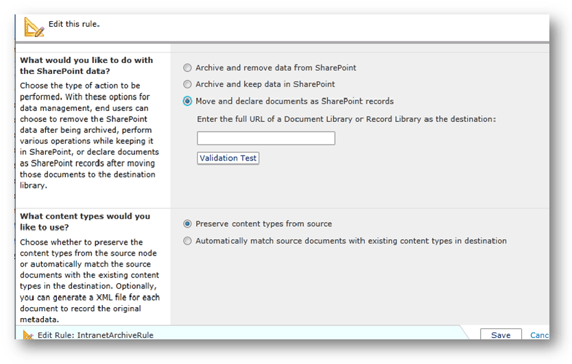Preserving metadata when archiving content to Records Center sites with DocAve Archiver.