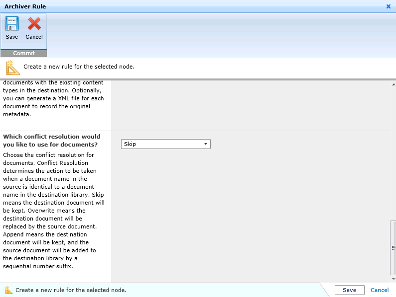 Setting conflict resolution roles in DocAve Archiver.