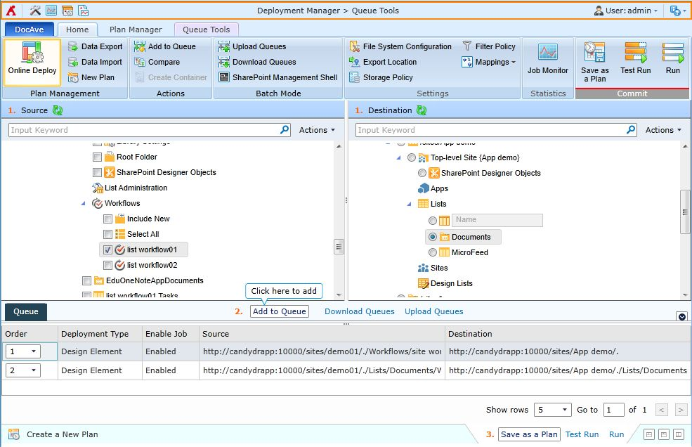 Deployment of an individual SharePoint workflow from one site to another with DocAve Deployment Manager.
