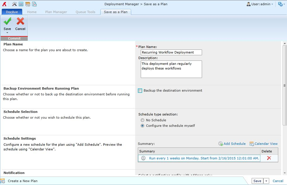 Setting up a scheduled deployment plan in DocAve Deployment Manager.