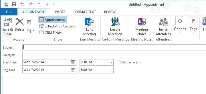 In AvePoint Meetings 3 SP 2, meetings can be created directly within Outlook.