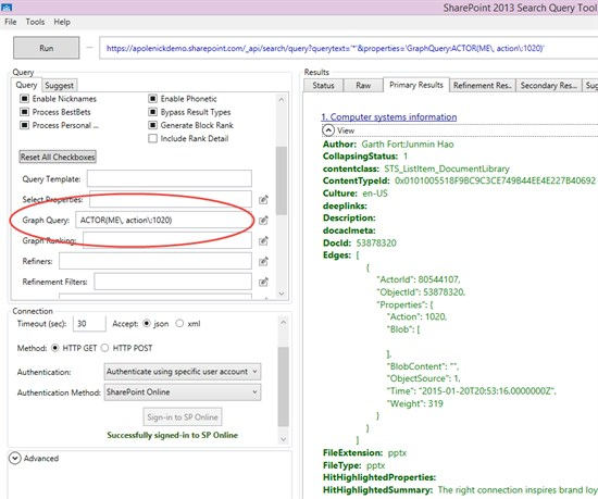 SharePoint 2013 Search Query Tool screenshot