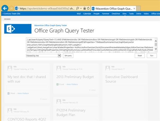 Office Graph Query Tester screenshot