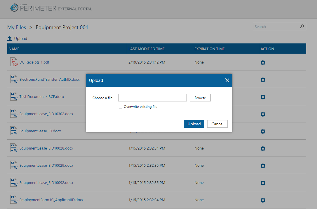 External users can upload content to the AvePoint Perimeter Portal, which is synced back to SharePoint