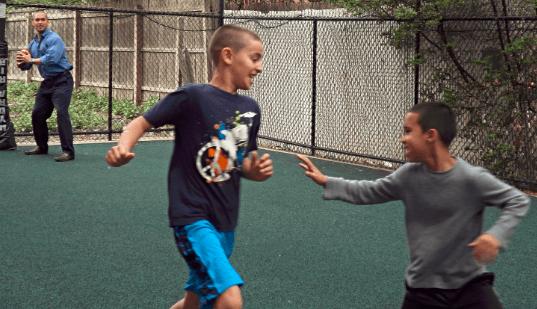 The center's backyard playground