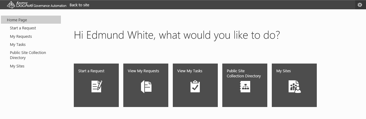 The DocAve Governance Automation menu, where users can start a request for a new SharePoint collaboration site.