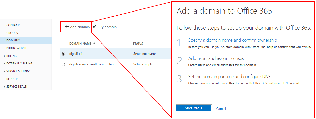 Adding a domain to Office 365.