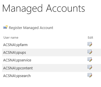Managed service accounts in SharePoint Central Administration.