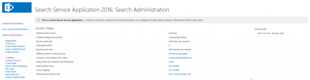 Creating the Cloud Search Service Application in SharePoint 2016.