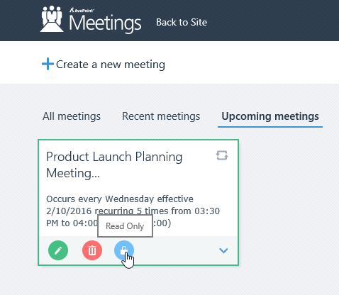 "Meeting owners can add ""read-only"" attendees for users who should be able to review meeting content without the ability to make changes."