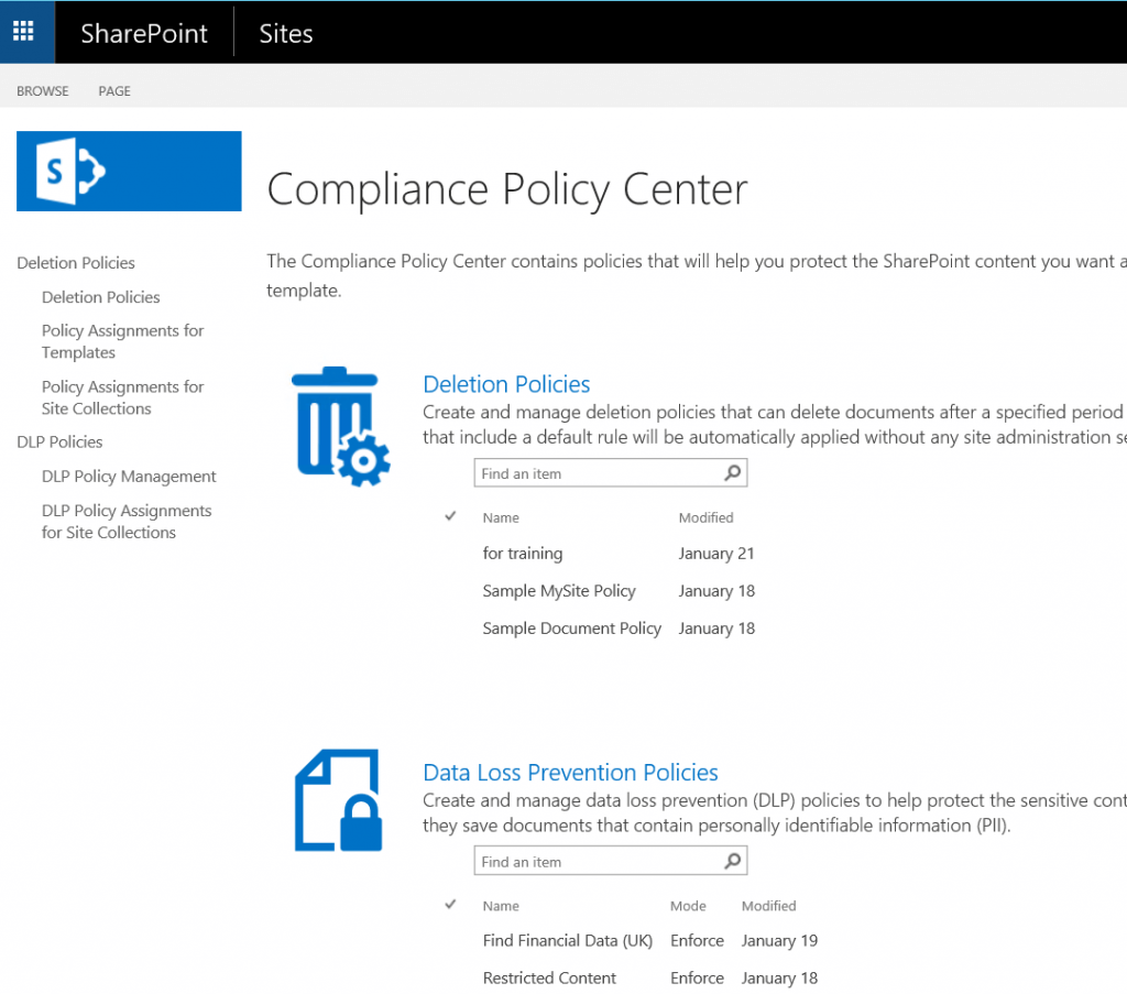 The Compliance Policy Center with DLP Policies in SharePoint 2016.