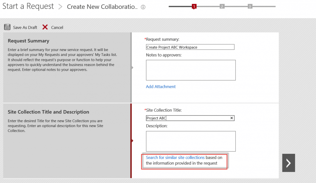 Users can search for existing SharePoint sites that may satisfy their needs before requesting a new site or site collection with DocAve Governance Automation.