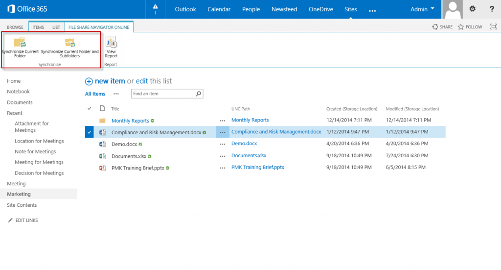 Download or upload file share content to and from SharePoint Online with DocAve File Share Navigator Online
