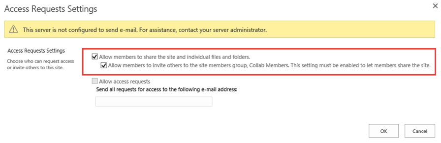 Default access requests settings in SharePoint 2016