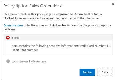 Policy Tip in SharePoint 2016
