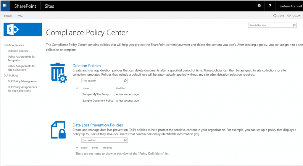Create and view deletion and DLP policies in SharePoint 2016