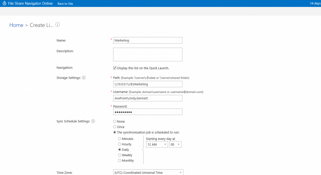 Create SharePoint lists that connect directly to a local file share