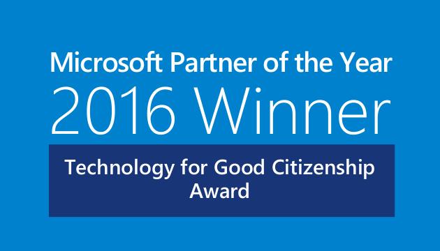 microsoft partner of the year 2016 winner technology for good citizenship award