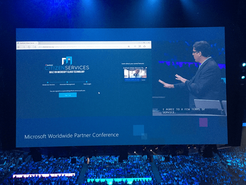 AvePoint Citizen Services on stage during the WPC 2016 day two keynote.