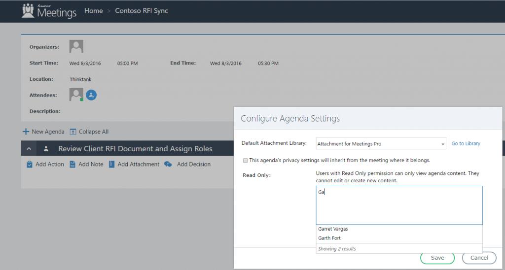 configure sharepoint meetings agenda settings