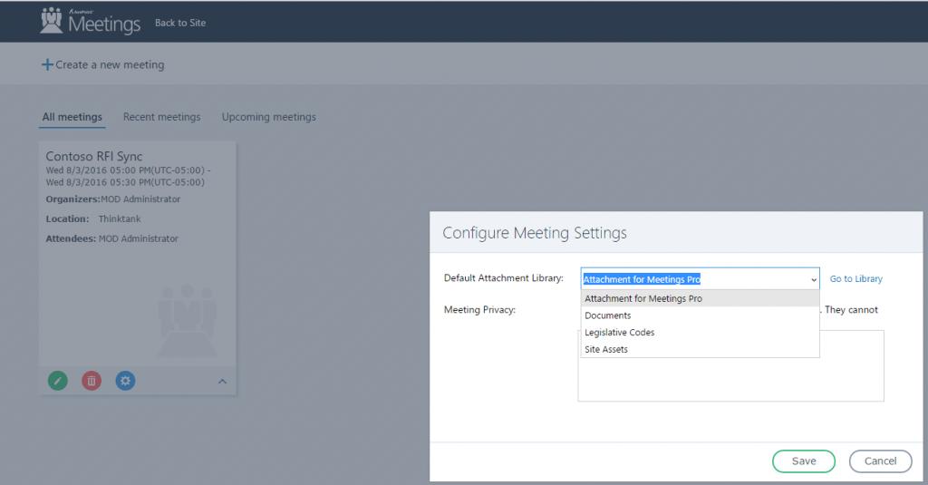 configure sharepoint meetings settings