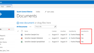 data classification applied to documents in sharepoint library