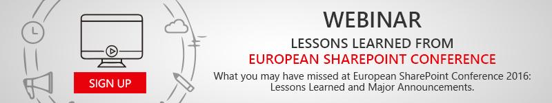 European SharePoint Conference 2016 Recap Webinar