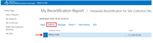 metadata recertification