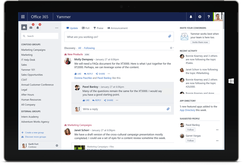 office 365 groups vs yammer