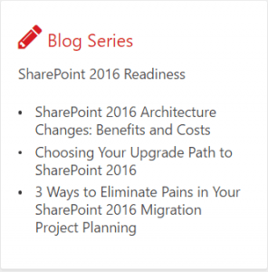 Free blog series about SharePoint 2007 to SharePoint 2016 migration