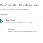 """How to use Microsoft Teams: I made channels for continual learning called """"Daily Digest"""", which is one of our company's values. I used a Bing search connector that provides us daily news on business relevant topics. We also discuss these articles in the reply section."""