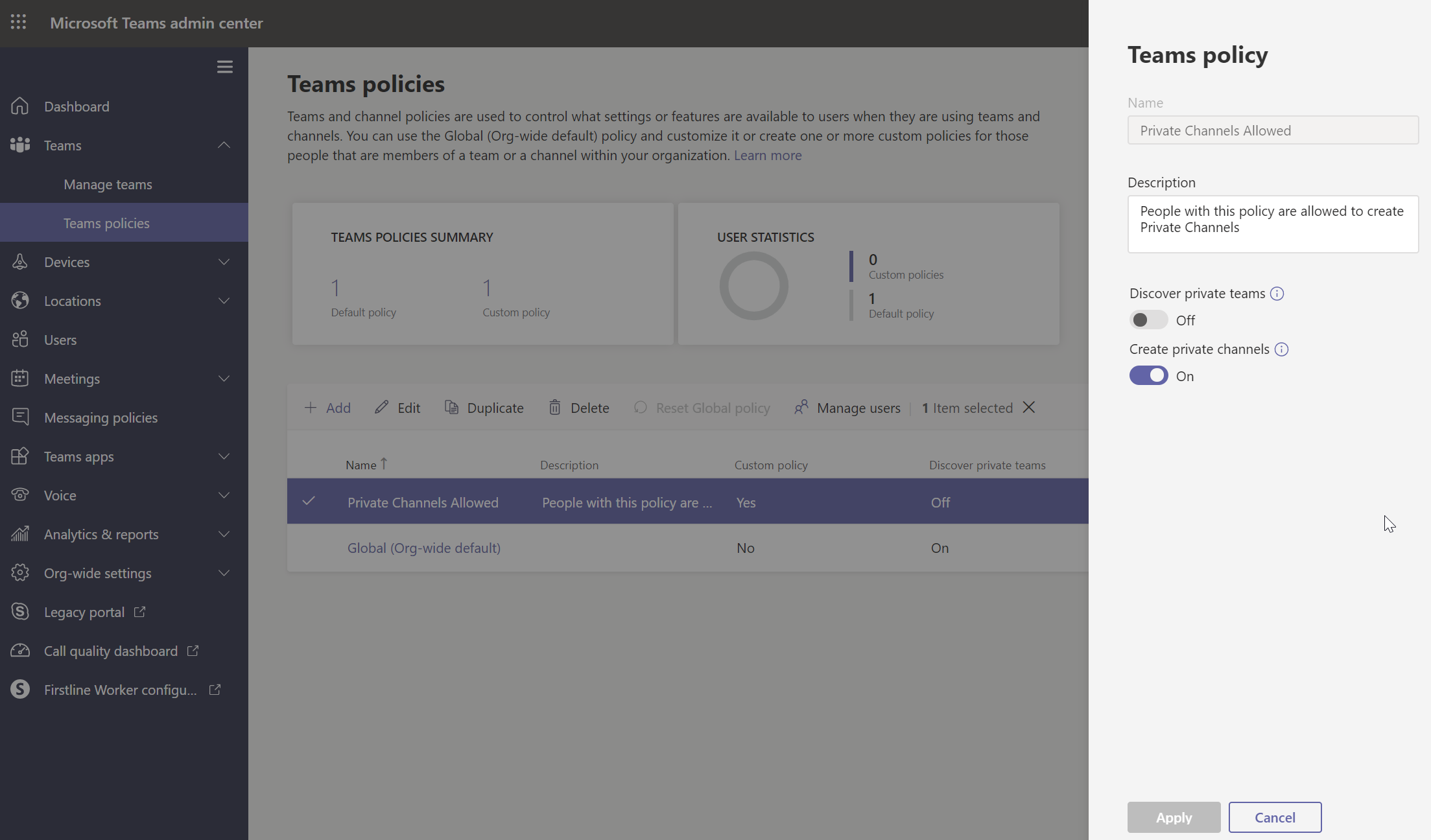 Private channel settings in Microsoft Teams