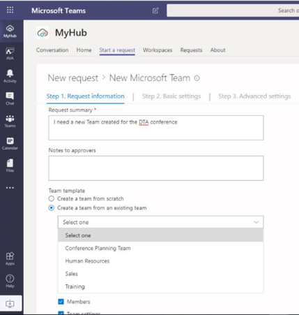 MyHub Cloud Governance Application in Microsoft Teams