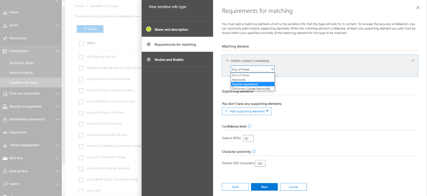 Creating Custom Sensitive Information Types in Office 365