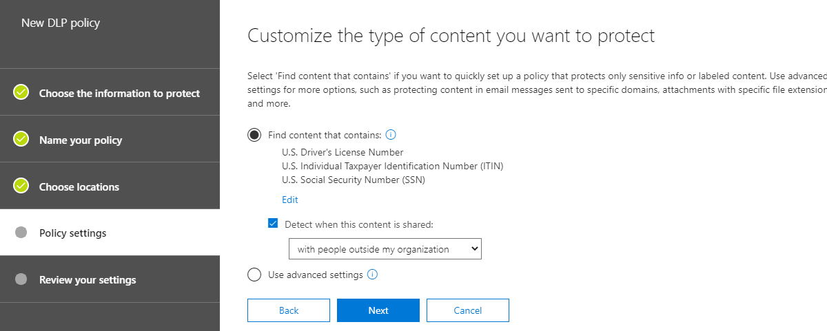 Creating a DLP policy in Office 365