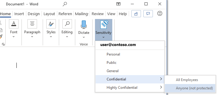 Adding a sensitivity label to content in Office 365